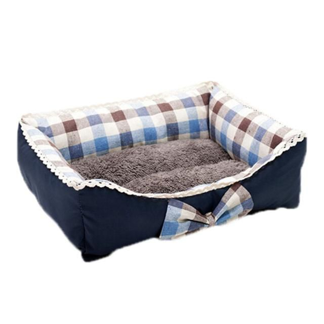 Fine joy High Quality Pet Dog Cat Kennel House Princess Lace Bed Sofa Plaiding Printing With Bow Canvas Cover Warm Cotton Mats