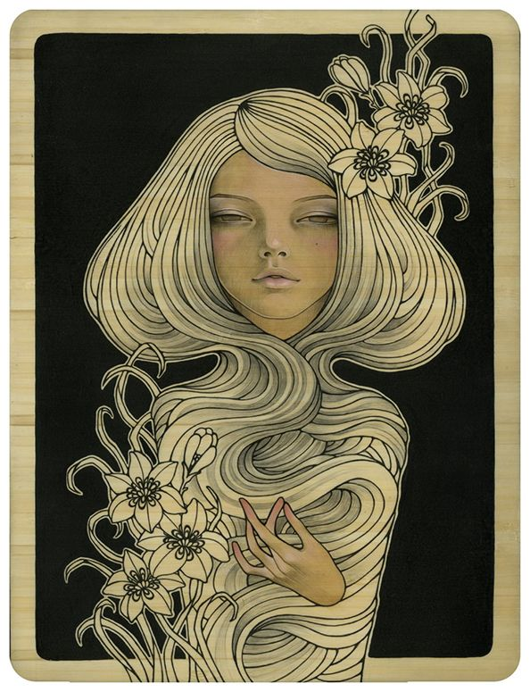 Audrey Kawasaki's New Wood Panel Paintings - My Modern Metropolis