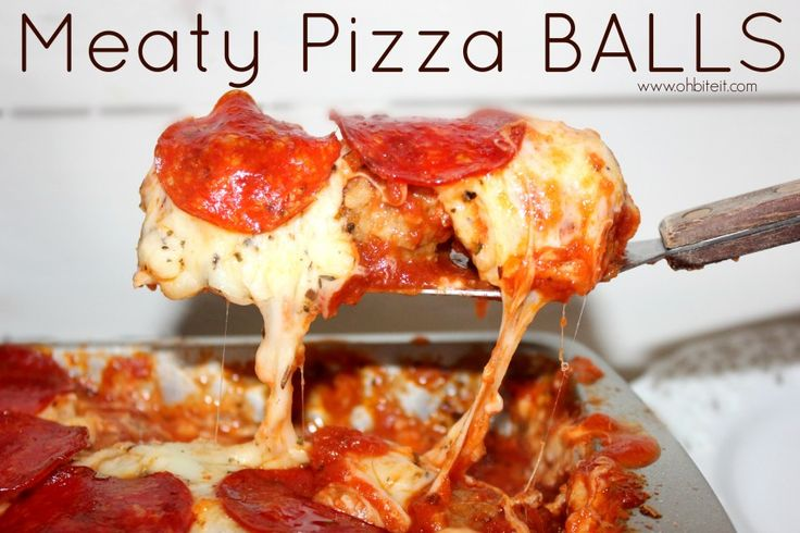 "~Meaty Pizza Balls! – From ""Oh Bite It"". Choose a low carb sauce and make low carb meatballs to make this low carb."
