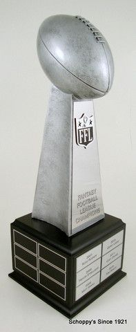 Fantasy Football Championship Perpetual Trophy on Black Wood Base   Schoppy's Since 1921