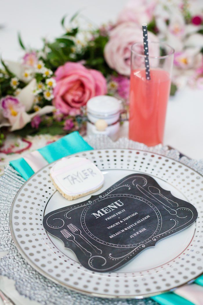 Place Setting From A Floral Chic Sugar Spice Baby Shower
