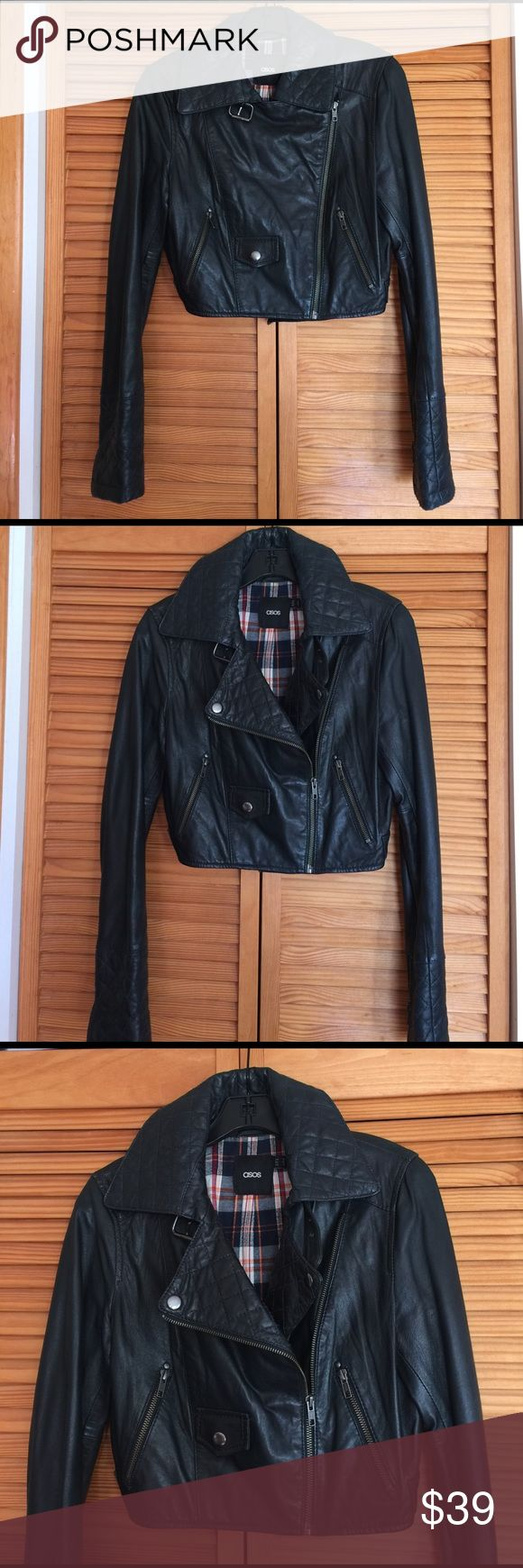 ASOS Leather motorcycle jacket This cropped real leather jacket is so stylish. Quilted color and cuff. I have too many leather jackets, this need a new home. Jackets & Coats