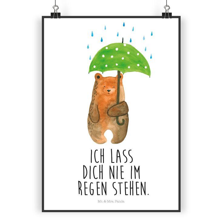 """Poster DIN A5 Bär mit Regenschirm aus Papier 160 Gramm  weiß - Das Original von Mr. & Mrs. Panda.  Jedes wunderschöne Poster aus dem Hause Mr. & Mrs. Panda ist mit Liebe handgezeichnet und entworfen. Wir liefern es sicher und schnell im Format DIN A5 zu dir nach Hause. Die Größe ist 148 x 210 mm.    Über unser Motiv Bär mit Regenschirm  """"Ich lasse dich nie im Regen stehen"""" - das gilt für unsere Freunde, für unsere Familie und für unseren Partner. Und diesen besonderen Menschen kann man…"""