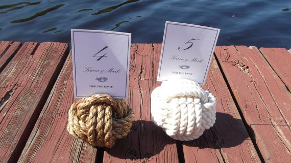 Nautical Wedding - 5 Nautical Rope Table Number Holders - Nautical decor on Etsy, $47.17