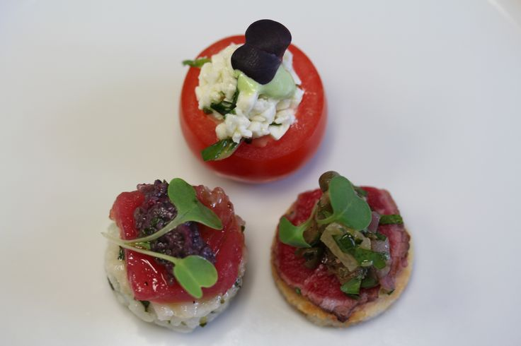 : Trio of Hors D'Oeuvres : Cherry Tomato Cups with Buffalo Mozzarella ...