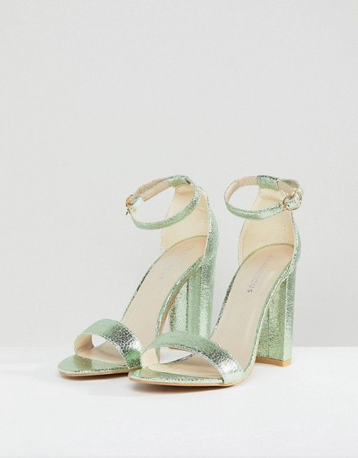 4e4c3f2af25 Metallic Green Barely There Block Heeled Sandals - Glamorous