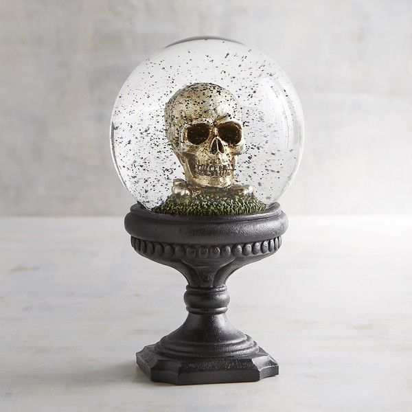 Pier 1 Imports Golden Skull Snow Globe (99 BRL) ❤ liked on Polyvore featuring home, home decor, holiday decorations, black, skull home accessories, black home decor, skull home decor, golden snow globe and pier 1 imports