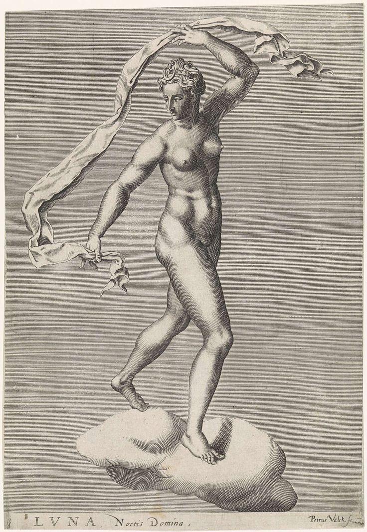 Pieter Valck   Diana als Luna op een wolk, Pieter Valck, 1575   Diana als de maangodin Luna op een wolk, de maan op het voorhoofd. Zevende prent uit een serie van serie prenten met planeten.