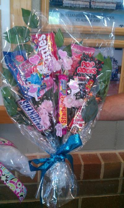 Candy bar bouquet for dance recital
