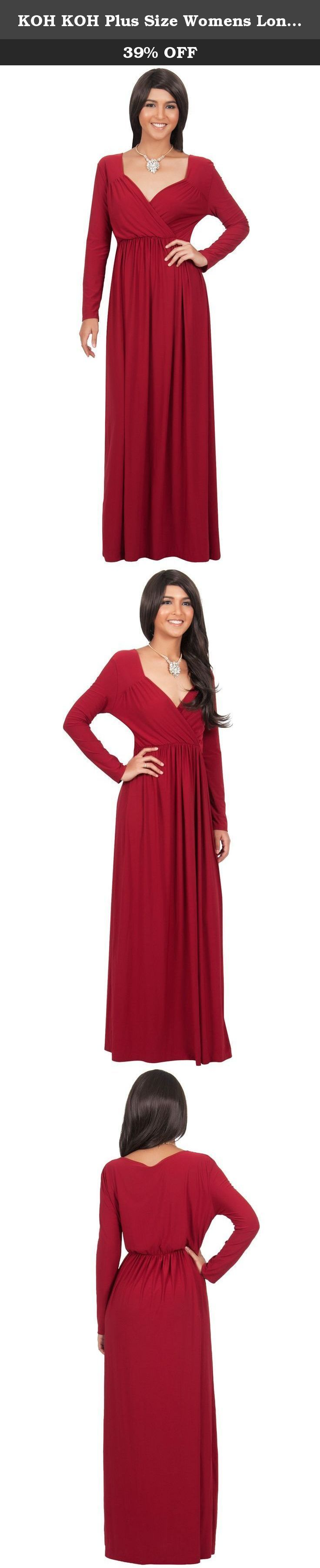 KOH KOH Plus Size Womens Long Sleeve Empire Cocktail Elegant Evening Versatile Maxi Dress, Color Crimson Red, Size 2X Large / XXL / 18-20. A highly versatile long sleeve maxi dress design from Koh Koh. Dress this simple but stunning design up or down and it will always be just perfect. Pair it with a chunky statement necklace or dangly earrings for a more formal maxi dress, semi formal maxi dress, prom maxi dress, wedding maxi dress, cocktail maxi dress event. This dress makes a great…