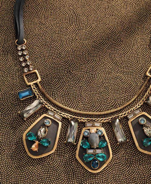 NEW K & R Blue Streak Necklace: #Swarovski crystal, brass and leather accents Www.mysilpada.com/Joanne.powell