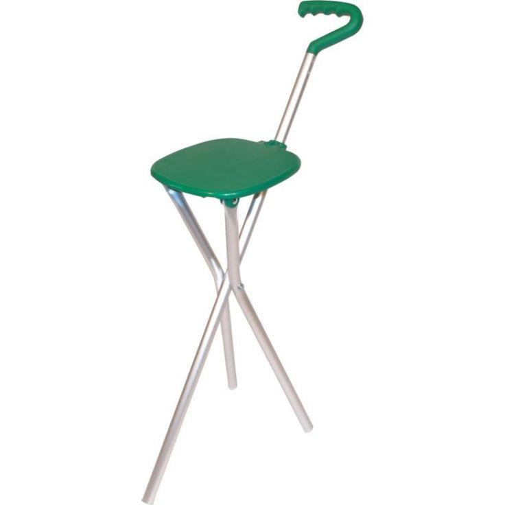 Sport Seat Folding Seat/Walking Stick, Silver