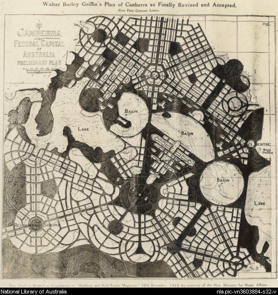 Canberra, Australia, --Plan as revised & accepted 1913