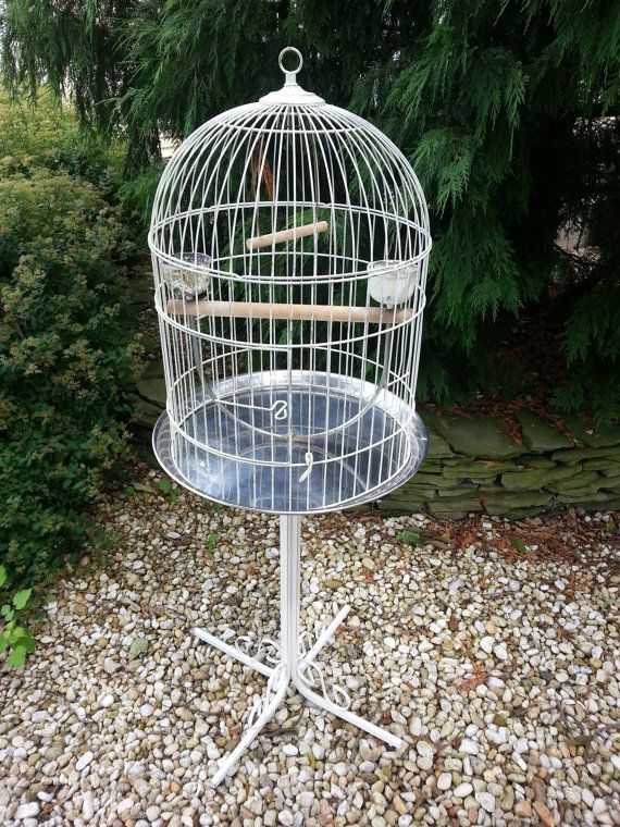 Vintage Bird Cage On Stand Extra Large Shabby Cottage Chic