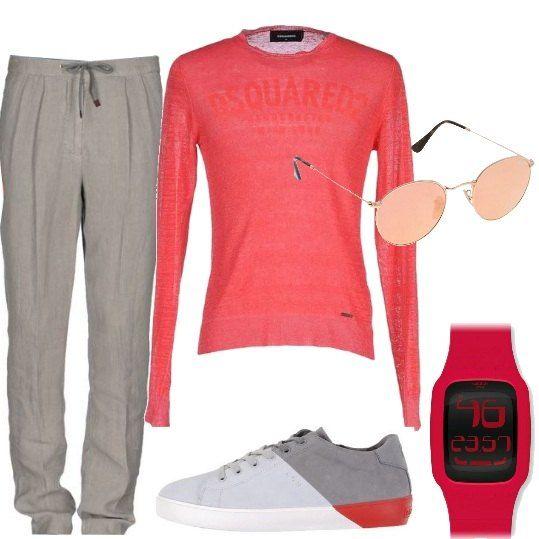 Pantaloni chino in puro lino, con coulisse, abbinati ad una maglia a maniche lunghe, corallo, in lino misto seta, sneakers in nabuk multicolore, orologio crono digitale, occhiali da sole con lenti a specchio.