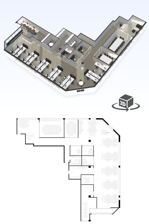 Large Office Floor Plan In Interactive 3d Get Your Own 3d Model Today At Http Planto3d Com Office Floor Plan Floor Plans Interior Floor Plan