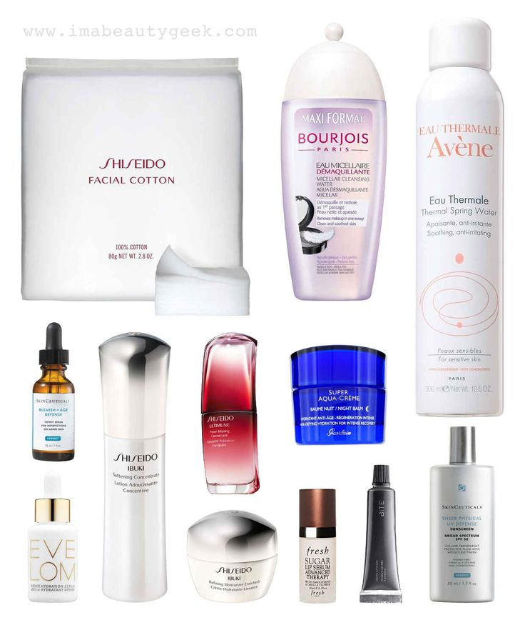 My current skincare regimen: Shiseido Facial Cotton, Bourjois Paris Micellar Cleansing Water, Avene Thermal Spring Water, Skinceuticals Blemish   Age Defense Potent Serum for Imperfections on Aging Skin, Eve Lom Intense Hydration Serum, Shiseido Ibuki Softening Concentrate, Shiseido Ultimune Power Infusing Concentrate, Shiseido Ibuki Refining Moisturizer Enriched, Guerlain Aqua-Crème Night Balm, Fresh Sugar Lip Serum Advanced Therapy, Bite Beauty Agave Lip Mask, Skinceuticals Physical UV…