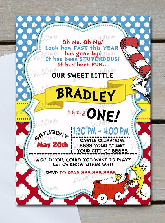 Dr Seuss Birthday Invitation Cat in hat one fish two