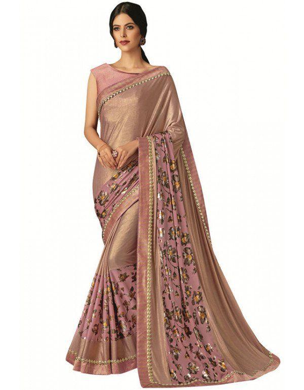Metallic Beige Designer Lycra Saree | Saree, Wedding sarees