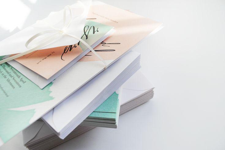 Pastel Pink Watercolour Invitation, Whimsical Wedding Invite, Fairytale Wedding, Bespoke Modern Calligraphy, Pastel Wedding - The Freo Suite
