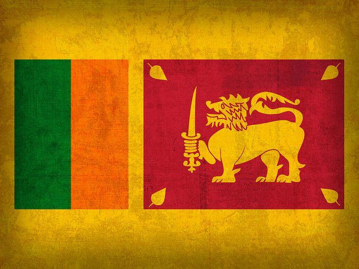 Sri Lanka Flag Vintage Distressed Finish Mixed Media