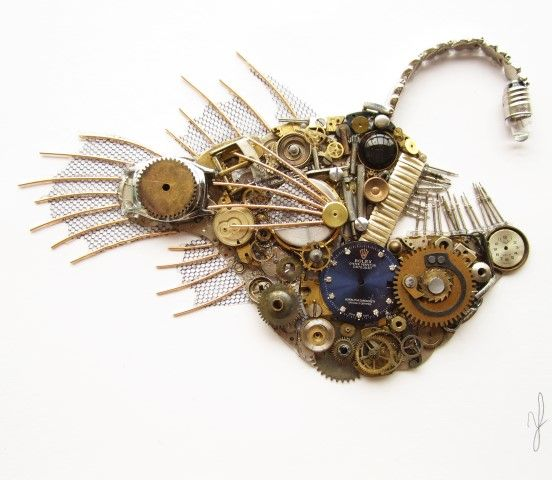 Angler fish picture made from old watch parts