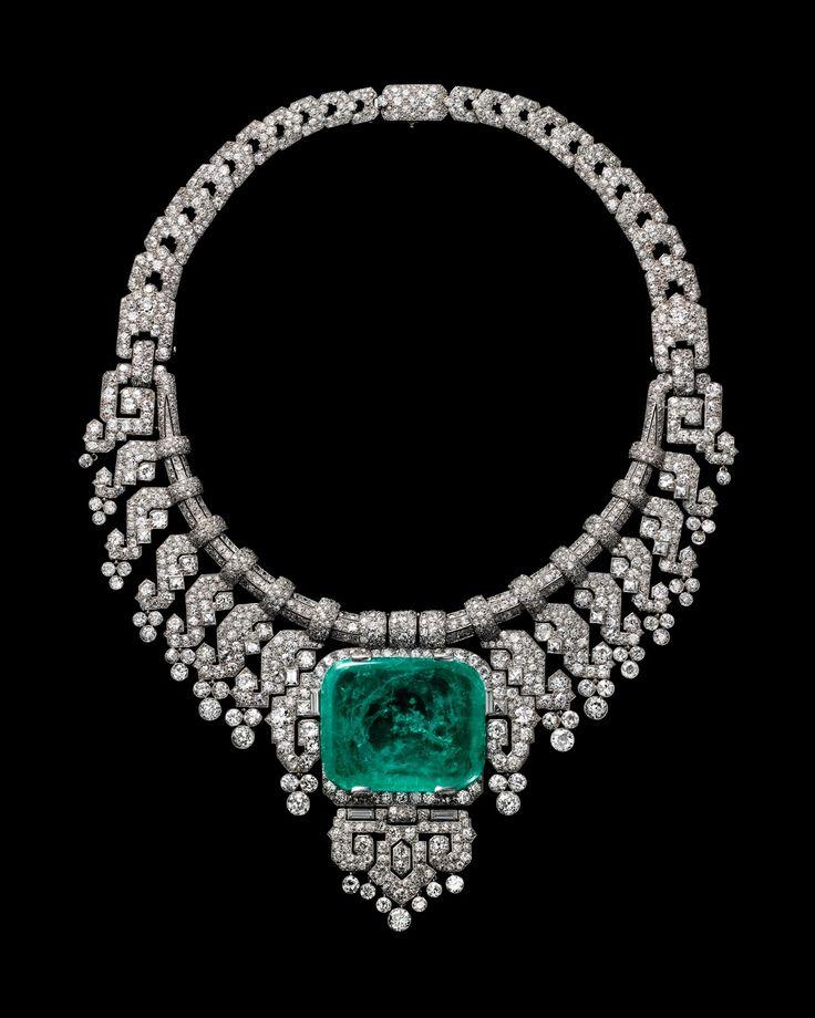 Necklace worn by Countess of Granard. Cartier London, special order, 1932. Platinum, diamonds, emerald