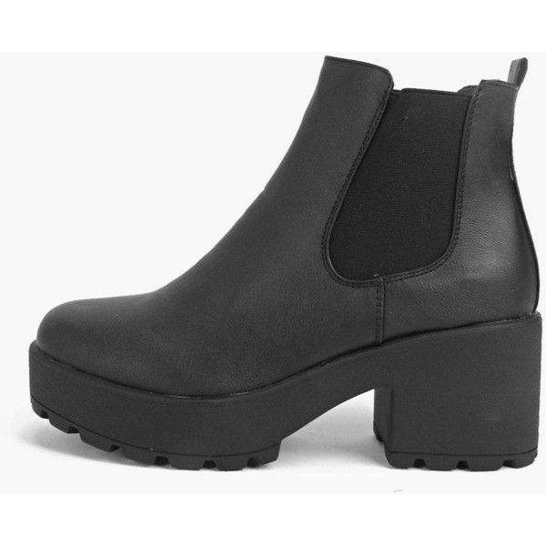 Boohoo Leah Black Heel Cleated Chelsea Boot ($52) ❤ liked on Polyvore featuring shoes, boots, ankle booties, black, peep toe bootie, black peep toe booties, black booties, ankle boots and short black boots