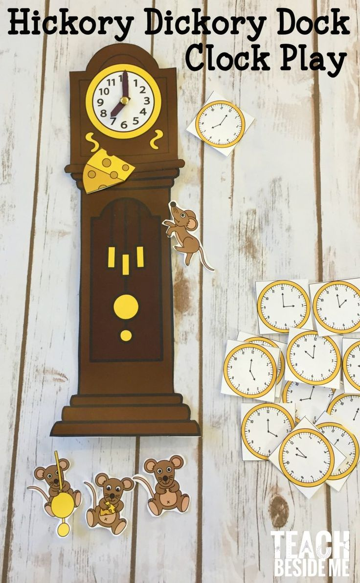 Hickory Dickory Dock clock learning and play- nursery rhymes great math activity for preschool or early elementary!