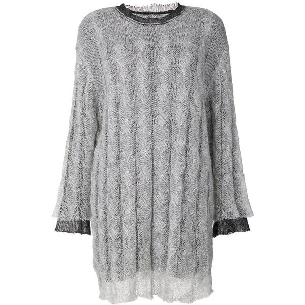 Maison Margiela double layer knit dress (26.150 CZK) ❤ liked on Polyvore featuring dresses, grey, long sleeve dress, knit dress, grey ribbed dress, long sleeve loose dress and long sleeve knit dress