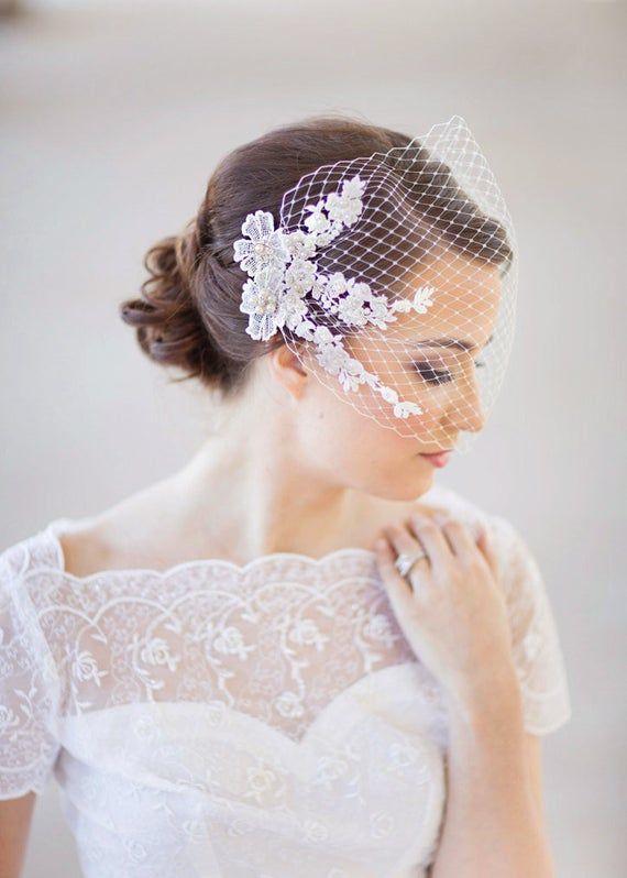 Bridal Birdcage Veil Bandeau Veil Wedding Birdcage Veil Etsy Bridal Birdcage Veils Birdcage Veil Wedding Hair Accessories Veil