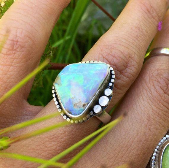 Australian Boulder Opal Ring in sterling silver size 7