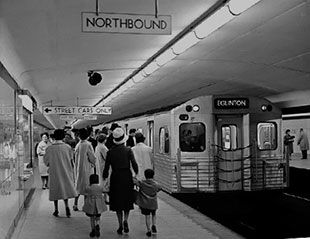The first subway opening in Toronto, it had 12 stops between Union and Eglinton. This shows how lives changed as it would have been the first time Canadians had inexpensive transportation available.