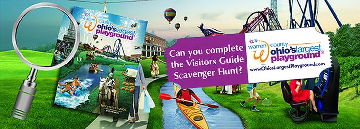 Calling all searchers & sleuths! Can you complete our 2017 Warren County, Ohio Visitors Guide Scavenger Hunt? The answers can all be found inside our FREE Visitors Guide! Fill out the form with your correct answers, and you'll be entered for a chance to win a weekend night at Hyatt Place Cincinnati-Northeast, 2 tickets to Kings Island & 2 tickets for laser tag missions at Lazer Kraze! Happy hunting!