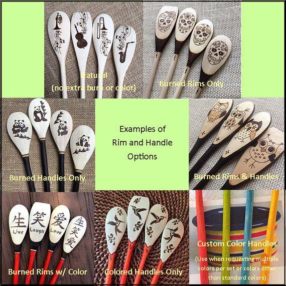 Custom Wood Burned Sugar Skull Spoons The Gents Series 5