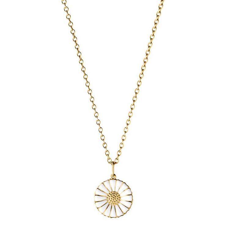 Daisy+Gold+Necklace,+White,+Georg+Jensen