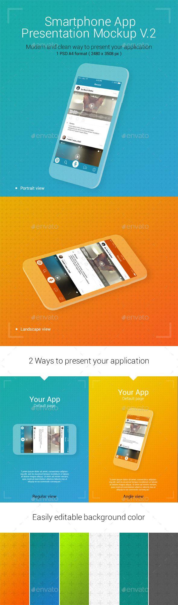 App Presentation Mockup V.2 — Photoshop PSD #easy #bg • Available here → https://graphicriver.net/item/app-presentation-mockup-v2/12959870?ref=pxcr