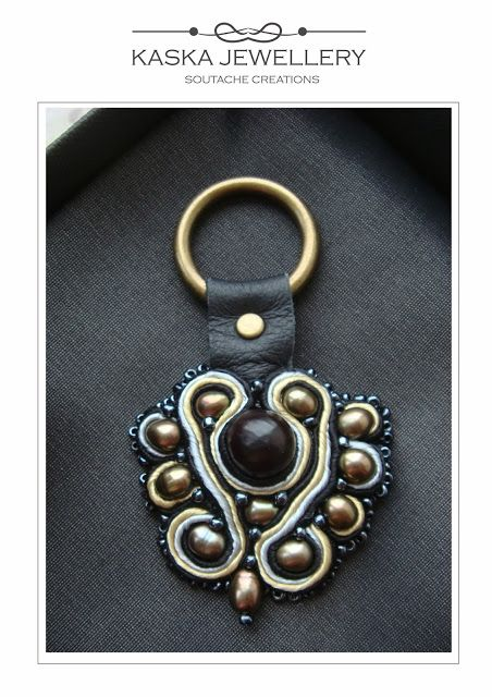 Unique key chain, #soutache #sweetwaterpearls, #naturalleather