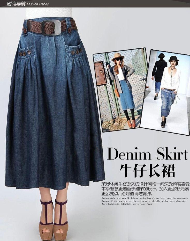 Envío gratis 2015 nueva moda verano Denim todo fósforo ocasionales flojas Jeans falda elástico de la cintura faldas largas para mujeres con cinturón sl en Faldas de Moda y Complementos Mujer en AliExpress.com | Alibaba Group