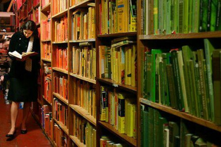 A San Francisco book store spent 10 hours arranging 20,000 books by color.