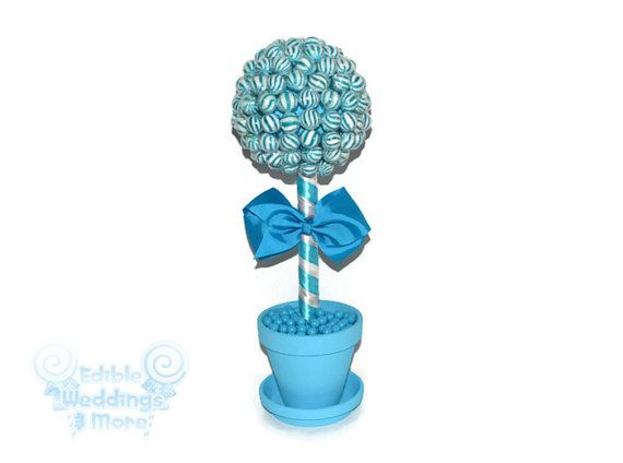 #wedding #candy #lollipop #etsy #edibleweddings #blue Blue Lollipop Topiary Blue Candy Topiary Blue by EdibleWeddings, $44.99
