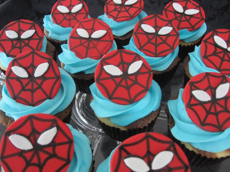 NEW Retro Style Spiderman Cupcake Toppers Cake 100% edible Fondant Cupcake Topper. $12.00, via Etsy.
