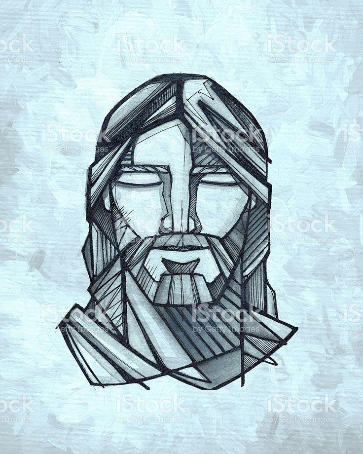 Twarz Ilustracja Jezus Chrystus stockowa ilustracja wektorowa royalty-free