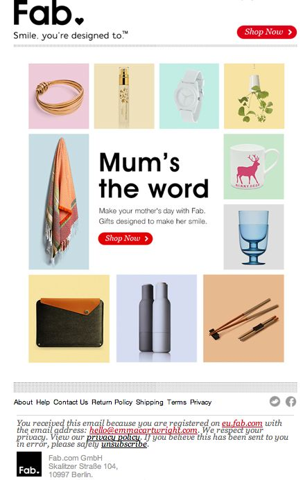 Fab mother's day email
