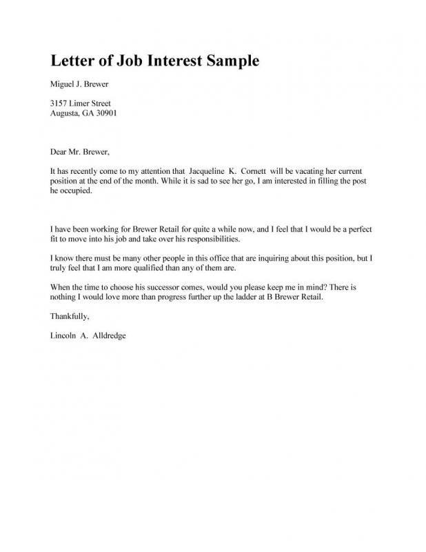 Letter Of Interest Sample Letter Of Interest Sample Job Letter Lettering
