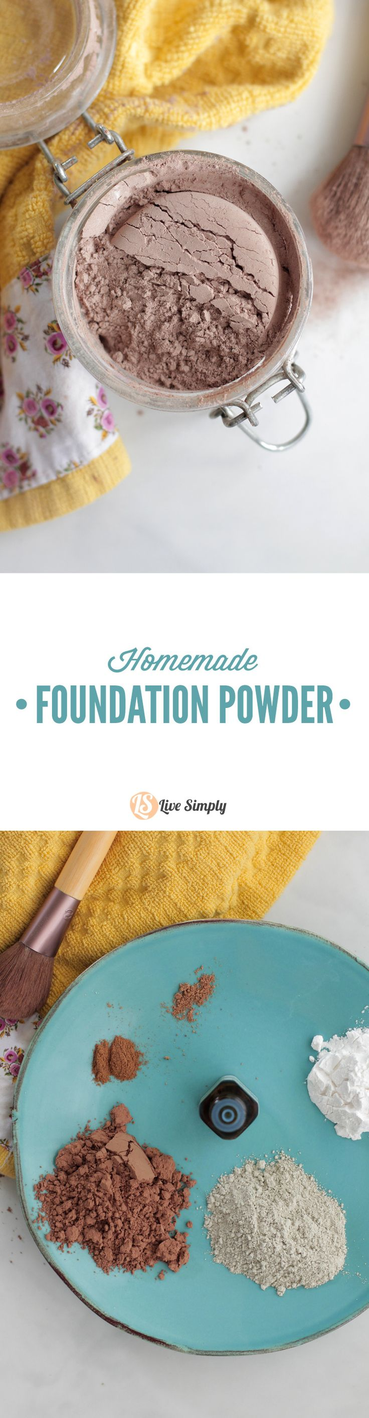 Homemade FOUNDATION POWDER made with all-natural ingredients. I've been using this homemade foundation powder for years and love it!!
