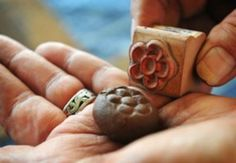 DIY seed bombs-use a rubber stamp to decorate it
