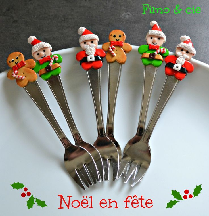 Lot de 6 fourchettes huitres d cor es sur le th me de for Pinterest cuisine noel