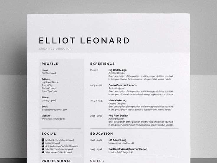 Don't know why but these clean resumes with super simple color subtleties are really attractive and eye catching. Resume/CV - 'Elliot' by Bill Mawhinney. For more resume design inspirations click here: https://www.pinterest.com/sheppardaaron/-design-resumes/ Creative Resume Design, Resume Style, Resume Design, Curriculum Vitae, CV, Resume Template, Resumes, Resume Format.