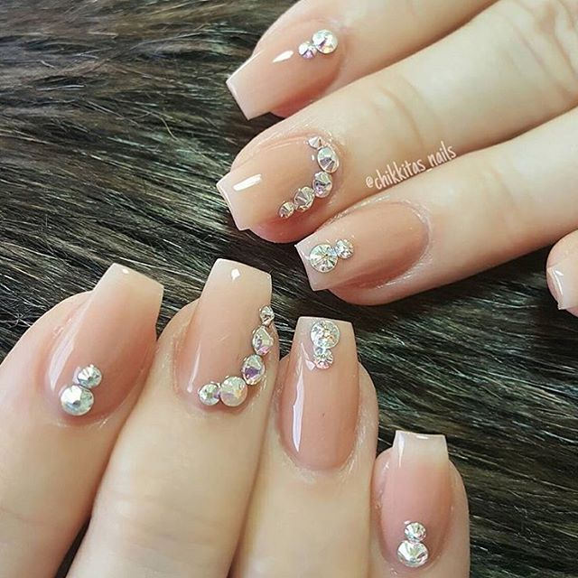 Simple and elegant nude nails by @chikkitas_nails  Love the sparkly Swarovski AB crystals